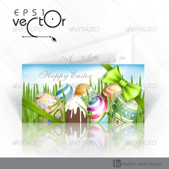Easter Background With Eggs In Grass. - Miscellaneous Seasons/Holidays