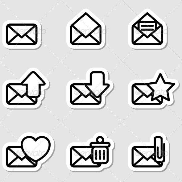 Envelopes Icons as Labels - Business Icons