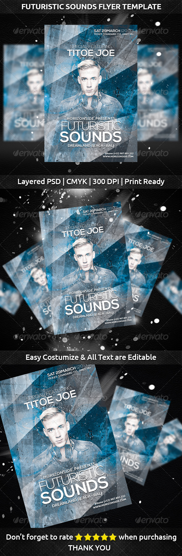 Futuristic Sounds Flyer Template - Clubs & Parties Events