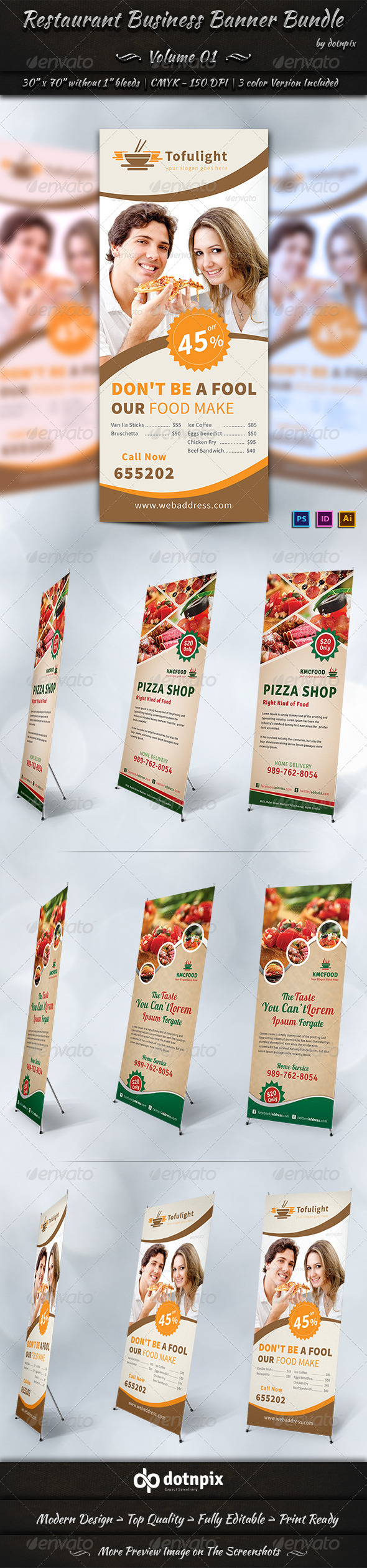 Restaurant Business Banner Bundle | Volume 1 - Signage Print Templates