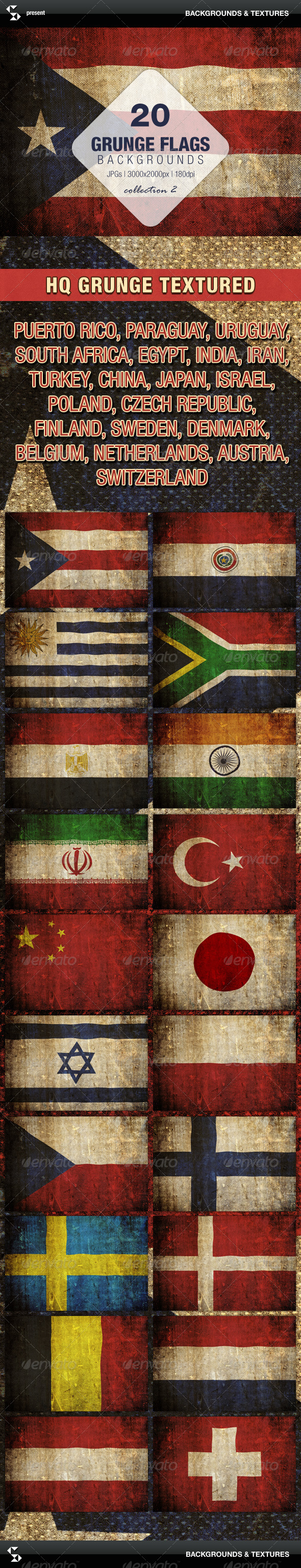 Grunge Flags - 20 Countries (Collection 2) - Urban Backgrounds