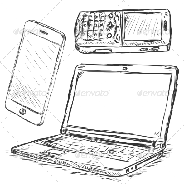 Vector Set of Mobile Digital Devices - Man-made Objects Objects