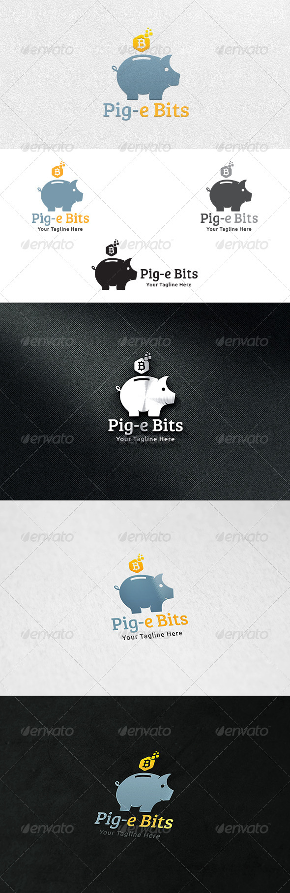 Piggy Bit Bank - Logo Template - Animals Logo Templates