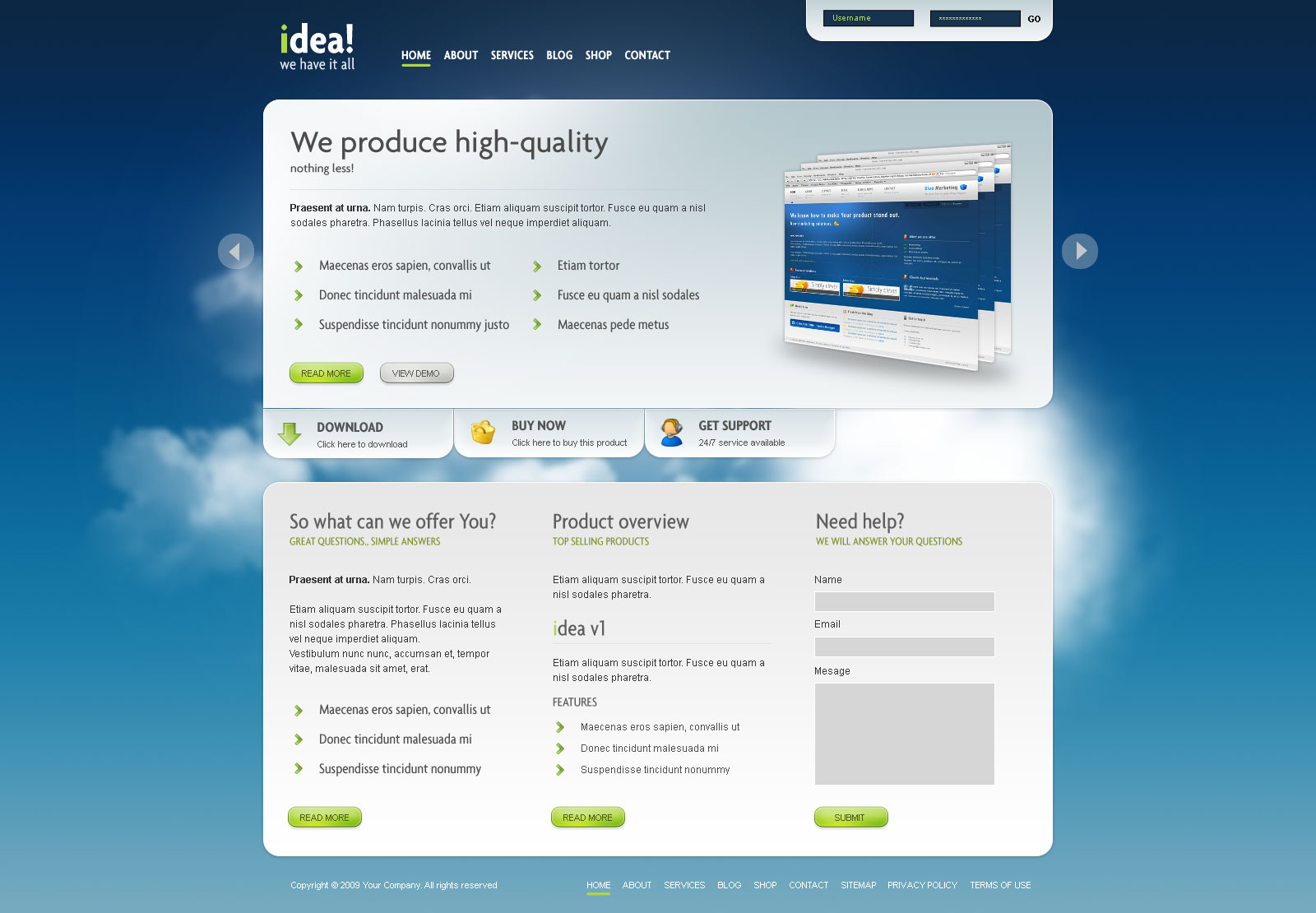 idea Business Shop Blog Template