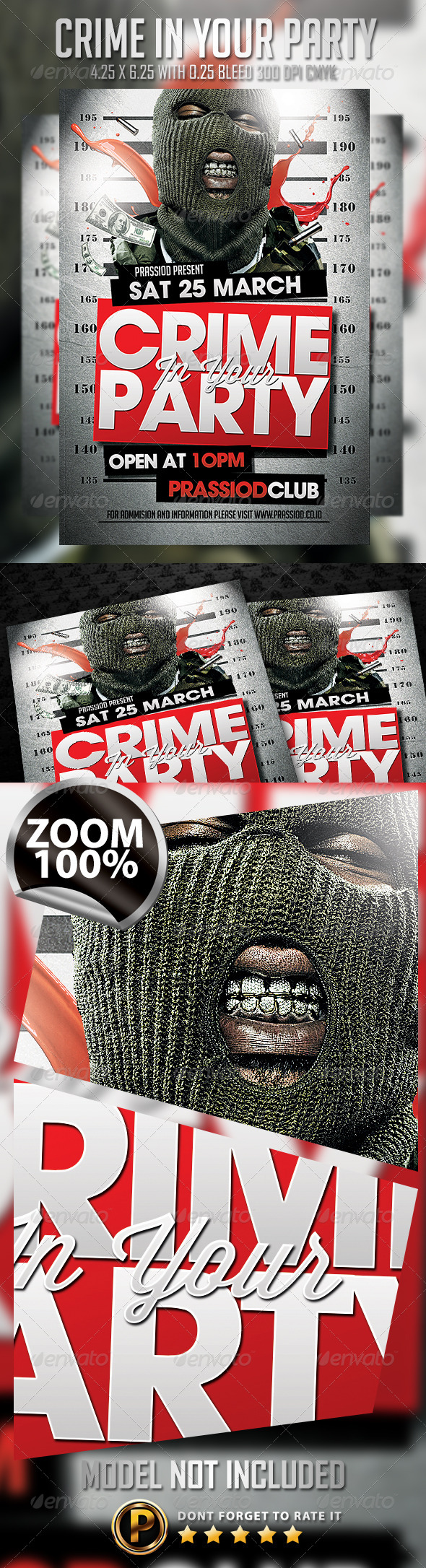 Crime In Your Party Flyer Template - Clubs & Parties Events