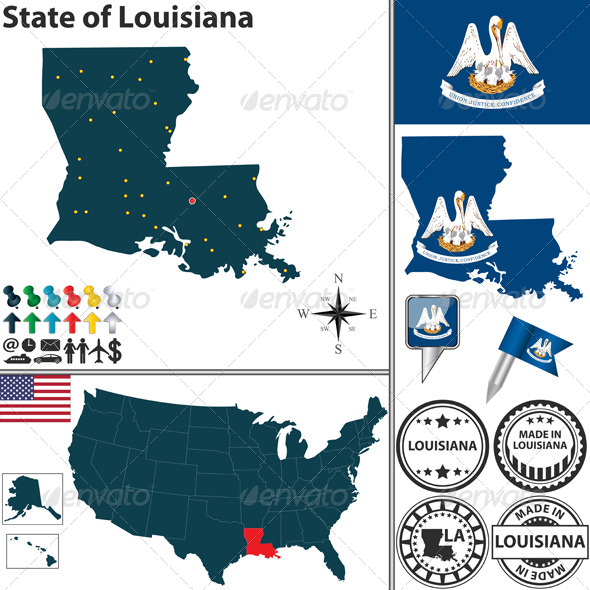 Map of state Louisiana, USA - Travel Conceptual