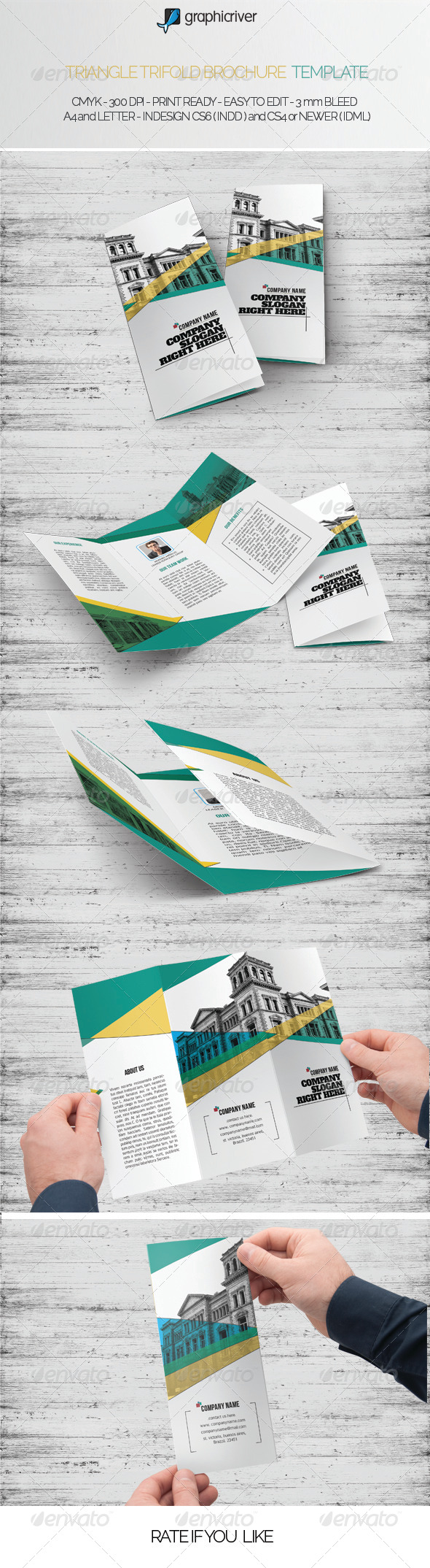 Triangle Trifold Brochure Template - Brochures Print Templates