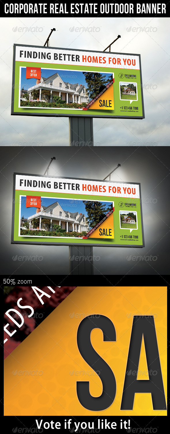 Corporate Real Estate Outdoor Banner 02 - Signage Print Templates