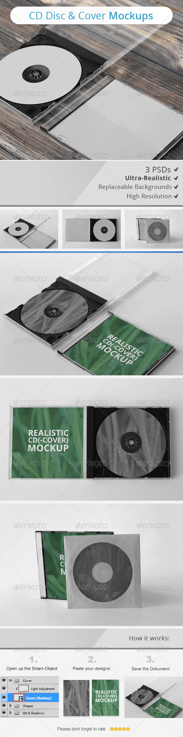 CD Disc & Cover Mockups - Discs Packaging