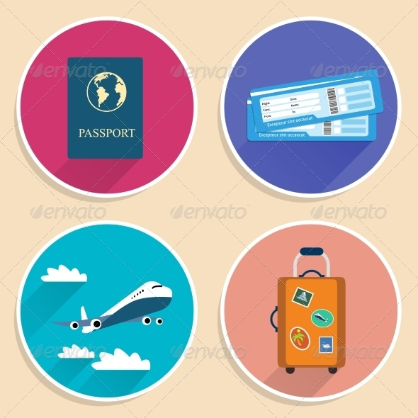 Vacation Travel Voyage Icons Set - Travel Conceptual