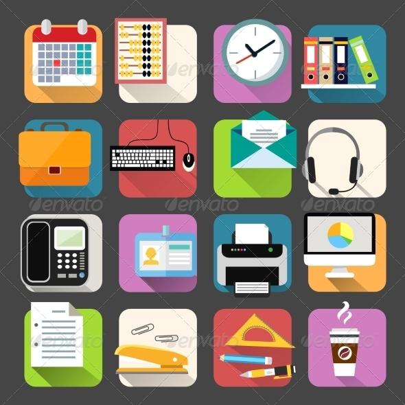 Business Flat Icons Set - Web Elements Vectors