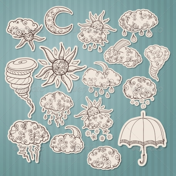 Doodle Weather Forecast Stickers - Decorative Symbols Decorative