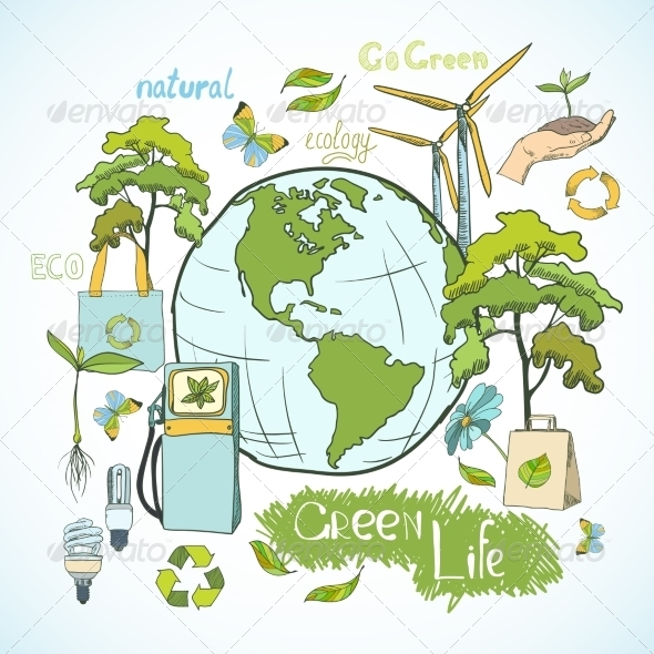 Doodles Ecology and Environment Concept - Concepts Business