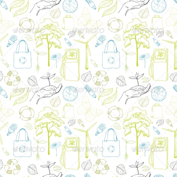 Seamless Ecology and Environment Pattern - Backgrounds Decorative