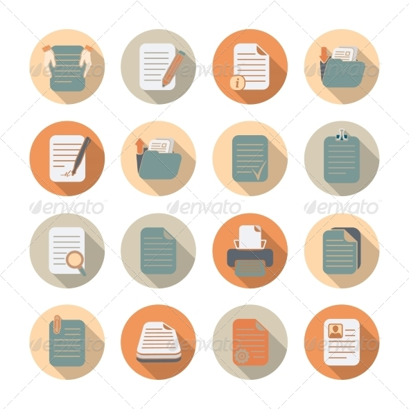 Documents Files and Folders Icons Set - Web Icons