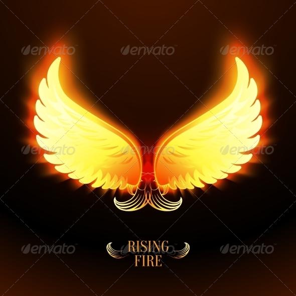 Bright Glowing Fire Angel Wings - Decorative Symbols Decorative