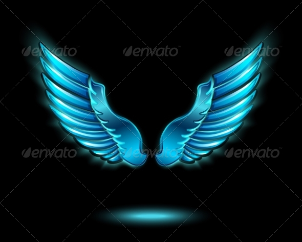 Blue Glowing Angel Wings - Decorative Symbols Decorative