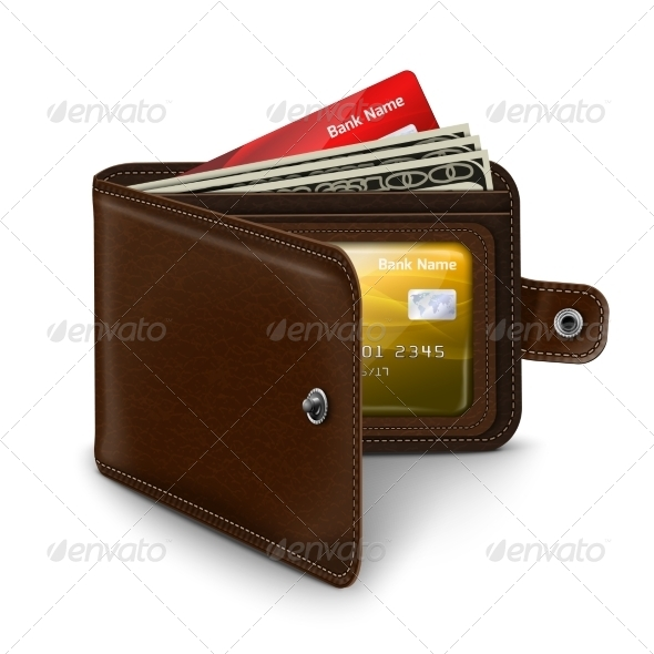 Open Leather Wallet - Man-made Objects Objects