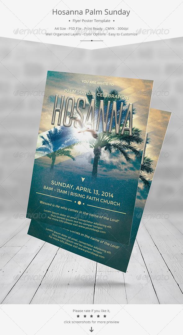Hosanna Palm Sunday Flyer/Poster Template - Church Flyers
