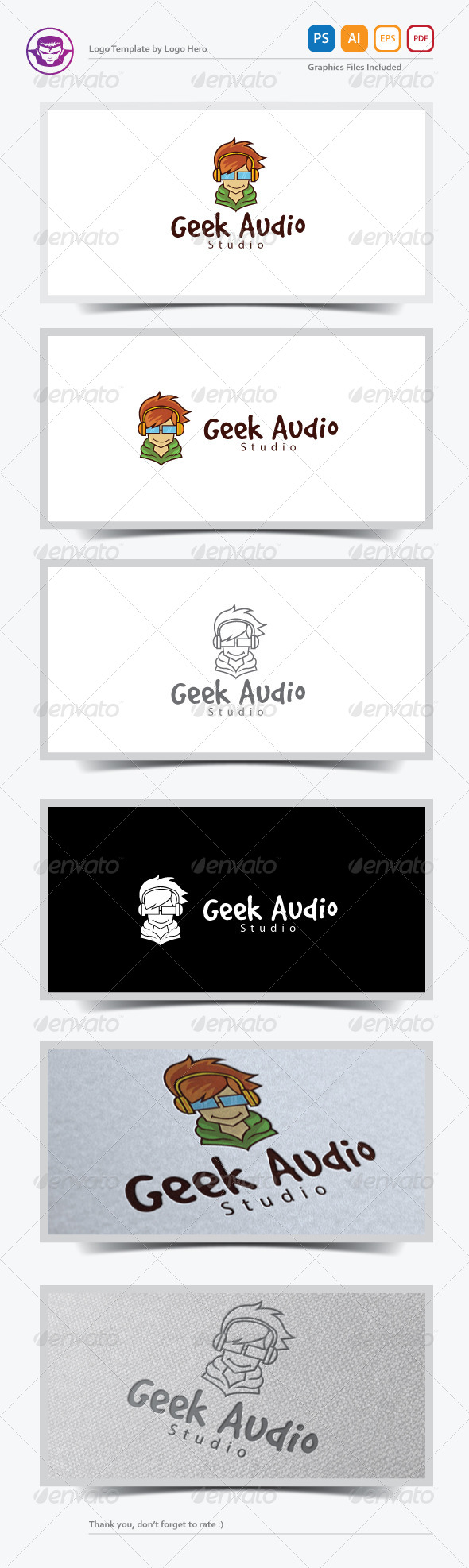 Geek Audio Logo Template - Humans Logo Templates