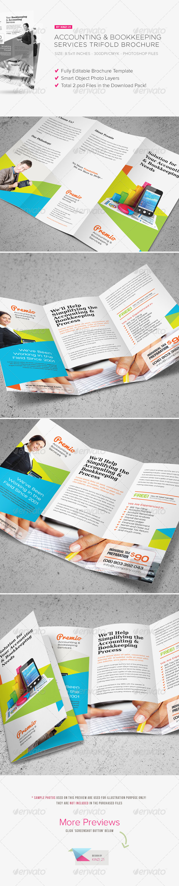Accounting & Bookkeeping Services Trifold Brochure - Corporate Brochures