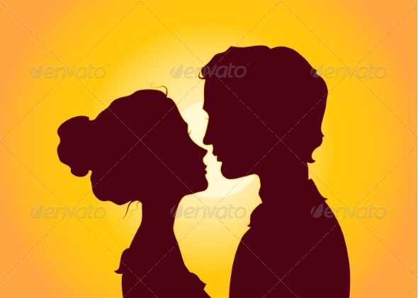 Sunset Silhouettes of Kissing Couple - People Characters