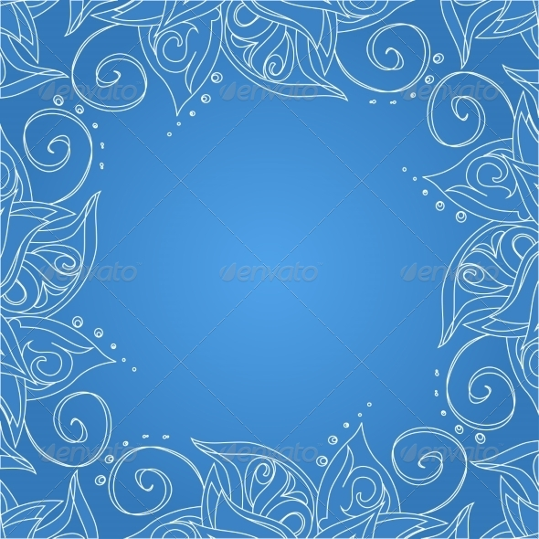 Blue Background with Floral Ornament - Backgrounds Decorative