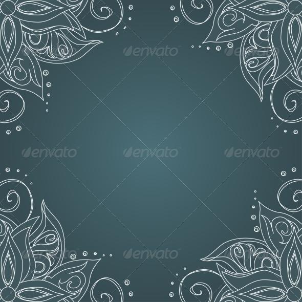 Ornamental Frame Against Dark Green Background - Backgrounds Decorative