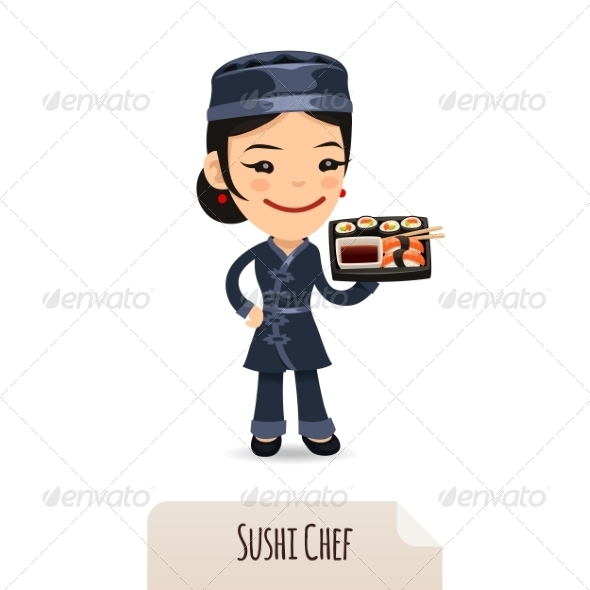 Sushi Chef With Tray - People Characters