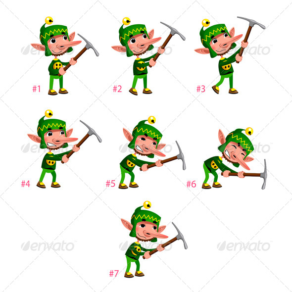 Animation of Dwarf Digging.  - Characters Vectors