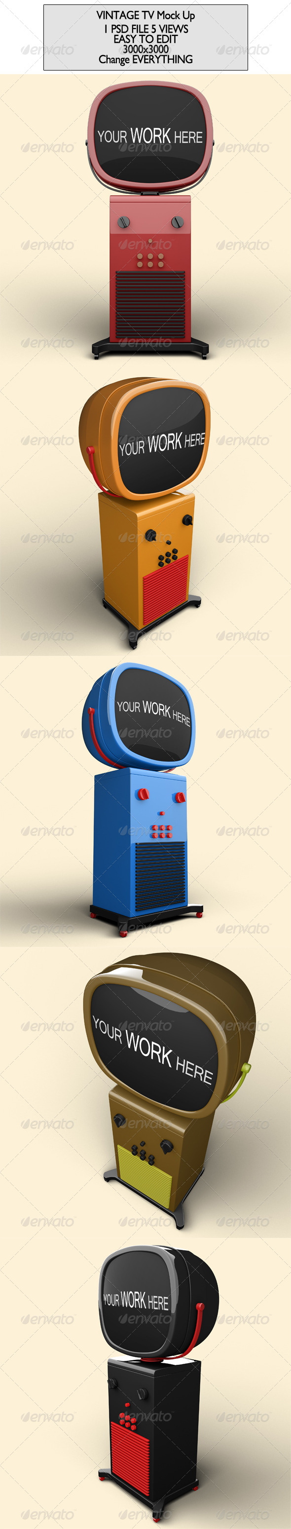 Vintage Tv Mock Up - Product Mock-Ups Graphics