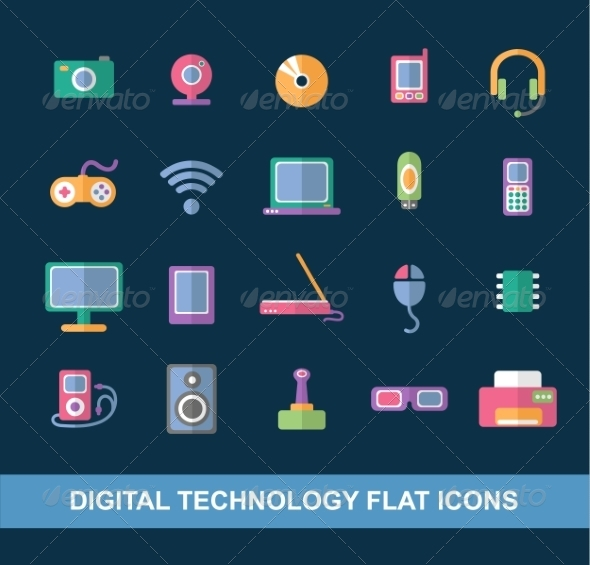 Flat Icons - Computers Technology