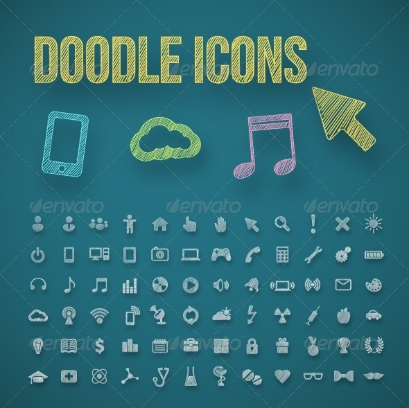 Doodle Icons - Web Elements Vectors