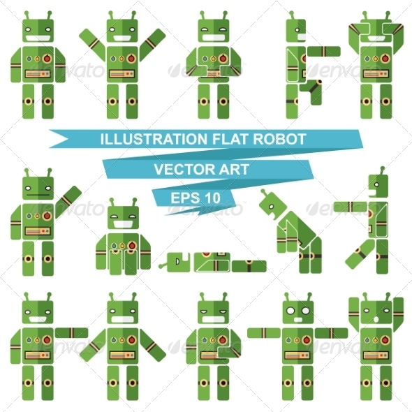 Flat Robots - Monsters Characters