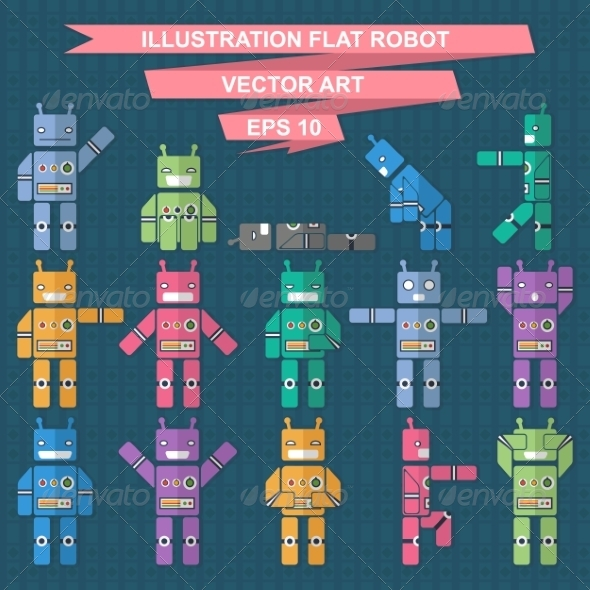 Flat Robot - Backgrounds Decorative