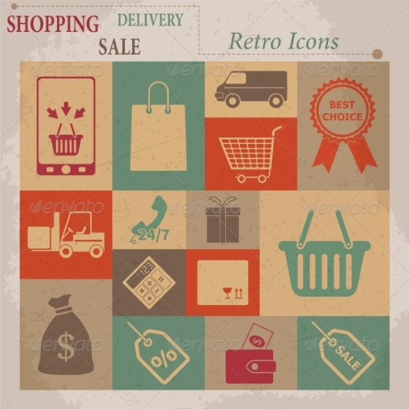 Shopping Flat Retro Icons - Web Elements Vectors