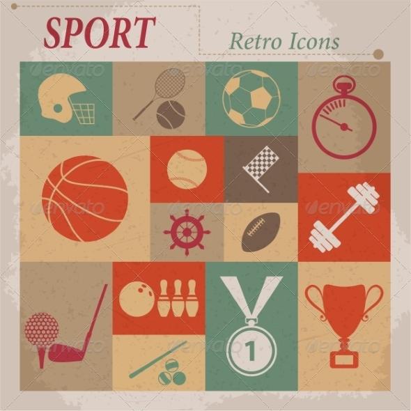 Sport Flat Retro Icons - Web Elements Vectors