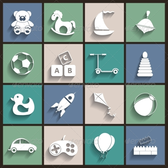 Toys Flat Retro Icons - Web Elements Vectors