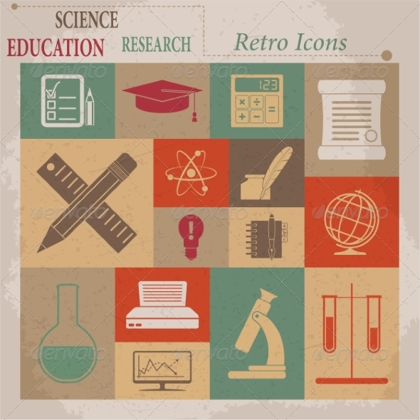 School and Education Vector Flat Retro Icons - Web Elements Vectors