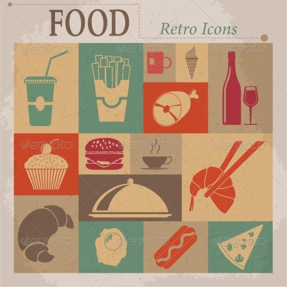 Food Flat Vector Retro Icons - Web Elements Vectors