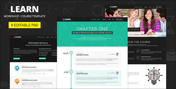 LEARN - Course, Workshop, Seminar PSD template - Corporate PSD Templates