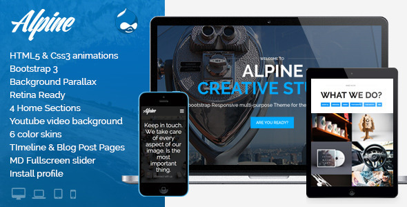 Alpine – Responsive One Page Parallax Drupal Theme