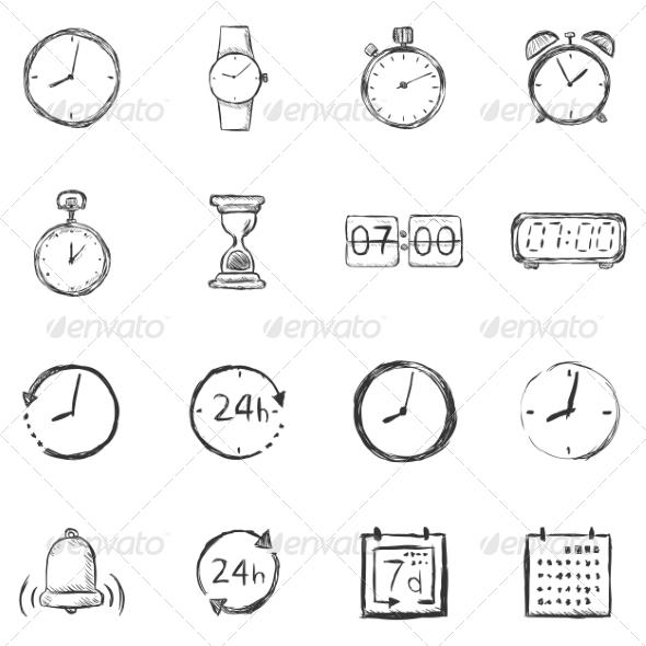 Vector Set of Sketch Time Icons - Miscellaneous Conceptual