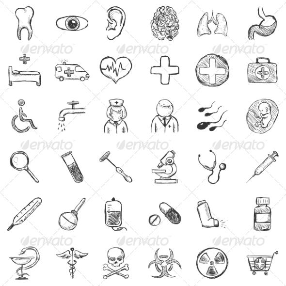 Vector Set of Sketch Medical Icons - Health/Medicine Conceptual