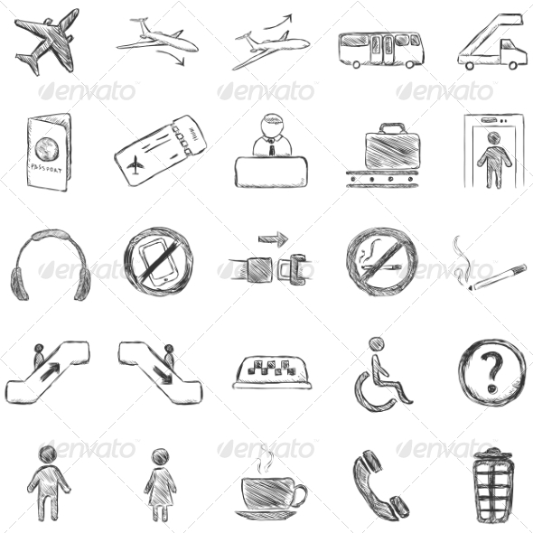 Vector Set of Sketch Airport Icons - Travel Conceptual