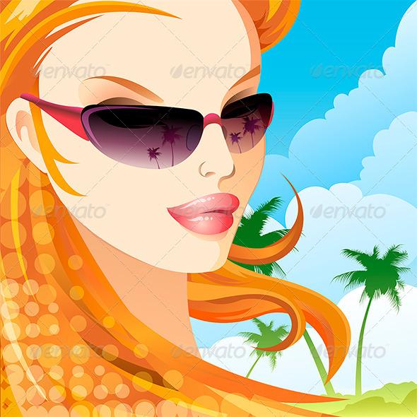 The Girl in Sunglasses - Conceptual Vectors