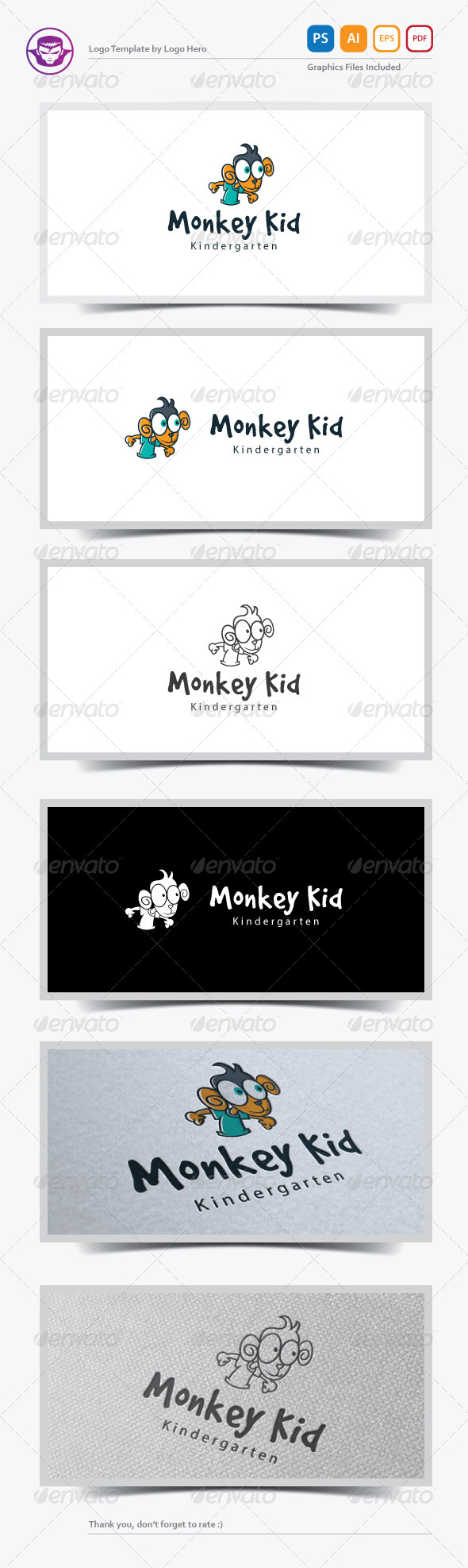 Monkey Kid Logo Template - Animals Logo Templates