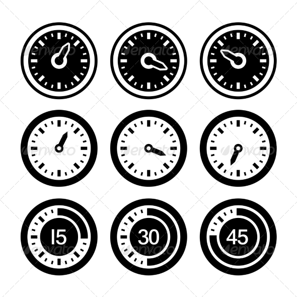 Dial and Timers Icons Set - Web Technology
