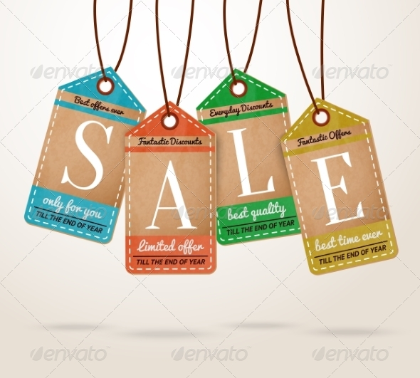 Cardboard Price Tags Sale Labels - Retail Commercial / Shopping