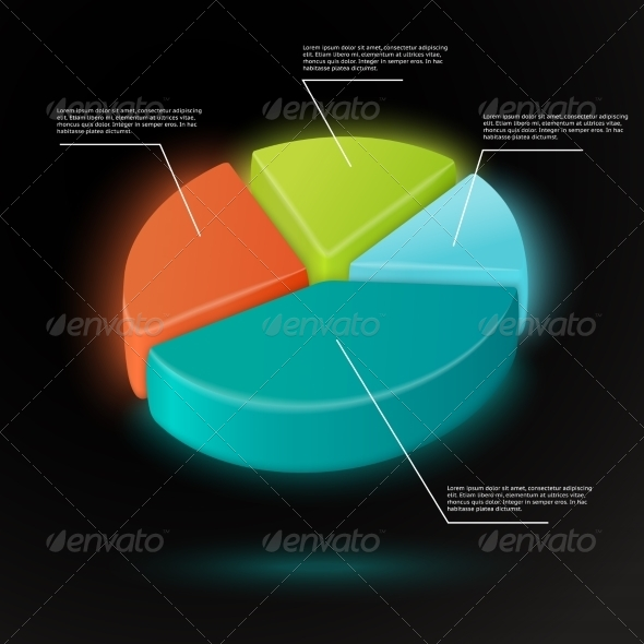 Pie Chart Infographics Template - Web Elements Vectors